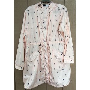 Torrid Pink Birds Raincoat Rain Jacket